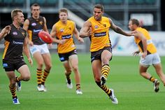 Lance Franklin stars in the midfield during Hawthorns intra-club match in Launceston. Center Stage, Hawks, Club, Running, Sports, Hs Sports, Peregrine, Keep Running, Why I Run
