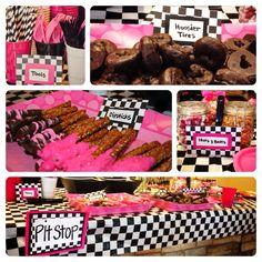 Girly race car birthday party food