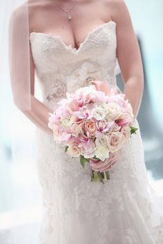 Ivory and Blush Wedding Centerpieces | Blush roses and pale pink cymbidium orchids, combined with ivory roses ...