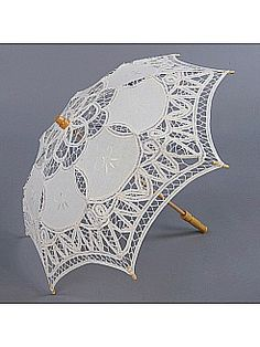 Cotton Lace Wedding Parasol for Flower Girl Ivory Color Sun Only - USD $18.99