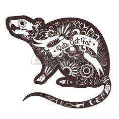 biglietto di auguri con il ratto fantasia Vector Rat tatuaggio illustrazione di vettore Archivio Fotografico