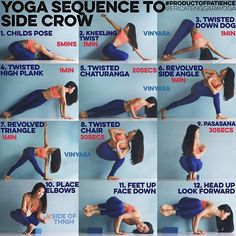 YOGA SEQUENCE TO SIDE CROW: This pose requires lots of twisting so best to do this BEFORE you eat. (Should try not to eat 2 hours before practice) Do 5 Sun B's to warm up 1. CHILDS POSE Do with knees together. It will help open your hips which you need in side crow & mimic the compression you need between the belly & thighs for later 2. KNEELING TWIST Picture is fairly self explanatory, emphasize on exhaling to twist deeper & really seriously go for it 3. TWISTED DOWN DOG From down dog…