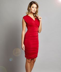 Ruched Knee Length Multiway Dress - In One Clothing | This is way too gorgeous, I need one of these, too ♥