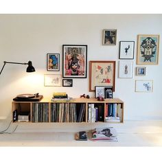 simple art gallery wall and record storage. simple art gallery wall and record storage. Apartment Decoration, Small Apartment Decorating, Interior Decorating, Decorating Tips, Living Room Decor, Bedroom Decor, Living Room Vinyl, Master Bedroom, Record Storage
