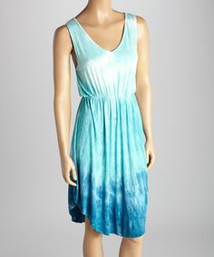 Look what I found on #zulily! Aqua & Marine Tie-Dye V-Neck Dress by CottyOn #zulilyfinds