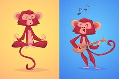 Two funny monkeys. Vector by Krol on Creative Market