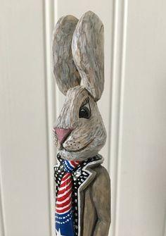 Chickanwhittle Carved uncle sam bunny wood spirit rabbit folk art
