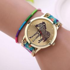 Handmade Braided Zebra Bracelet Dial Quarzt Watch WristWatch