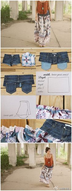 Sew top of jeans onto skirt material