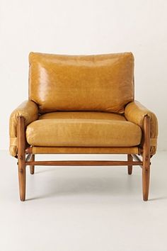 mustard yellow leather club chair