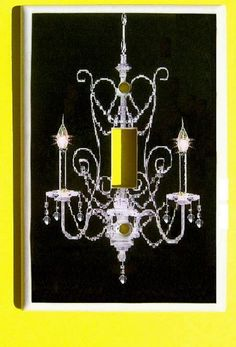 Chandelier Light Switch Cover - Clear Crystals Black Background  (MTO). $10.50, via Etsy.