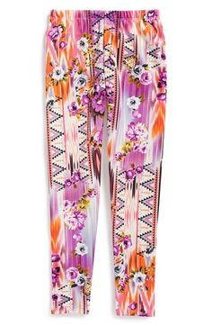 Mixed print legging scuba pant for girl