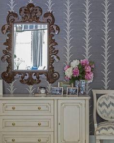 Schumacher 'Acanthus Stripe' Wallpaper & Schumacher 'Sierra Ikat' fabric on chair.