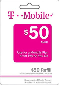 $50 T-Mobile Refill Card | GiftCodes4U.com