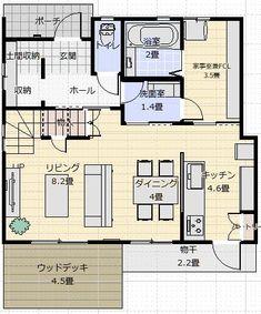 間取り成功例27坪 北西の風景を楽しむ家 | アトリエコジマ~注文住宅理想の間取り作りと失敗しないアイデア・実例集~ House Layouts, Laundry Room, House Plans, Floor Plans, Flooring, How To Plan, Interior, Living Room, Home Decor