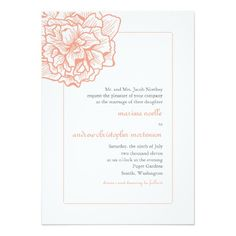 Delicate Peony Wedding Invitation in Orange and Gray