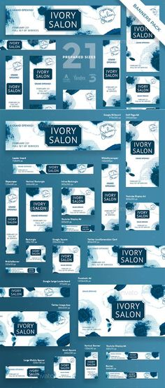 Ivory Salon Banner Pack by ambergraphics Stand out of the crowd with a perfect banners pack. Big set of banners various forms and sizes to improve the look of your we Web Design, Web Banner Design, Web Banners, Banner Instagram, Google Banner, Display Ads, Display Advertising, Youtube Banners, Twitter Image