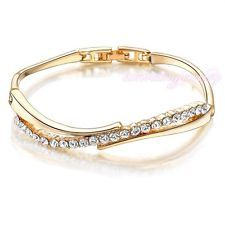 Stream Design Clasp Bangle Bracelet Clear Crystal 18K Gold Plated Chic Gift B242