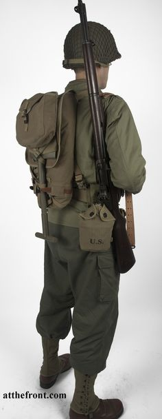 Reproduction WWII US Army Infantryman Uniform & Gear Package. This is a uniform that Ray and most of the other soldiers wore in combat. Military Gear, Military History, Military Dogs, Ww2 Uniforms, Military Uniforms, American Uniform, Soldier Costume, Army Infantry, American Soldiers
