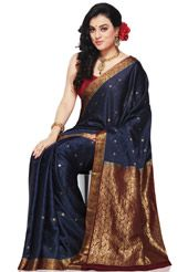 Navy Blue Pure Mysore Silk Saree with Blouse