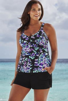 f74a432bf114b Beach Belle Hyacinth V-Neck Cargo Shortini Tropical Vacation Outfits, Plus  Size Beach,