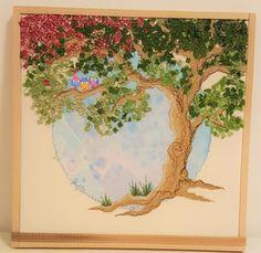 Genähter Baum mit kleinen Vögelchen, 25 x 25 cm