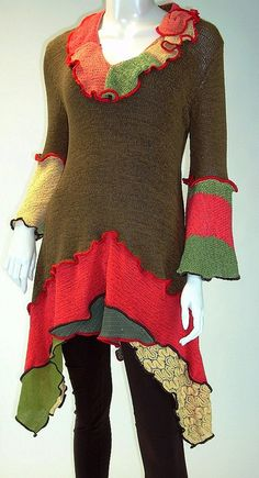 Coffee Brown, Vermilion and Gold Tunic, Size Medium ( 8-10-12)   Flickr - Photo Sharing!