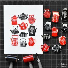 Meet Andrea Lauren, a lino print artist. Stamp Printing, Printing On Fabric, Screen Printing, Lino Print Artists, Eraser Stamp, Buch Design, Stamp Carving, Handmade Stamps, Linoprint