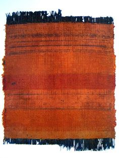 """Chiyoko Tanaka ~red stripe #262 1988  24 x 18 cm, hand woven ramie, linen, silk, rubbed with brick """"Many of my pieces, once woven by hand, are laid down outdoors on the ground or on a rock.  I then rub them carefully with a stone or brick.  I want to touch the earth through this process, to trace the texture of the ground"""""""