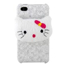 Hard Back Case with Cute Hello Kitty Figure for Apple iPhone 4G (White)