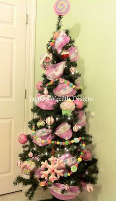 little girls christmas tree candy theme christmas tree themes xmas trees christmas tree - Candyland Christmas Tree Decorations