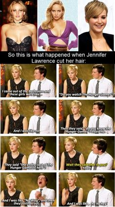 This is great. short hair, the hunger, jennifer and josh funny, josh hutcherson, hunger game, new hair, jennif lawrenc, josh face, jennifer lawrence