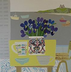 Irises On The Yellow Table St Ives   Emma Williams