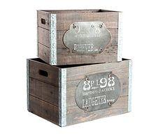 Set de 2 cajas de madera de abeto y hierro - marrón