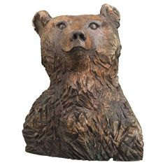 Carved Wooden Bear | From a unique collection of antique and modern outsider and self taught art at http://www.1stdibs.com/furniture/folk-art/outsider-self-taught-art/