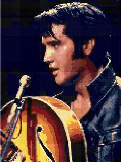 Cross stitch pattern Elvis Presley Comeback Show PDF - New EASY chart with one color per sheet And regular chart! Two charts in one! by HeritageCharts on Etsy