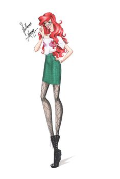 Guillermo García Meraz, art, illustration, fashion, fashion sketches, high fashion, Disney, fan art, film, Ariel