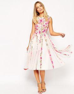 ASOS | ASOS Floral Mesh Insert Fit And Flare Midi Dress at ASOS