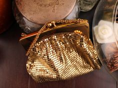 Vintage 1950's Clutch Wristlet Purse Whiting & Davis Gold Mesh Style 2833 Snap Closure with Original Satin Lining