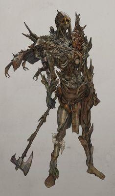 Medieval Fantasy, Dark Fantasy, Fantasy Art, Fantasy Monster, Monster Art, Creature Concept Art, Creature Design, Dungeons And Dragons, Skeleton Warrior