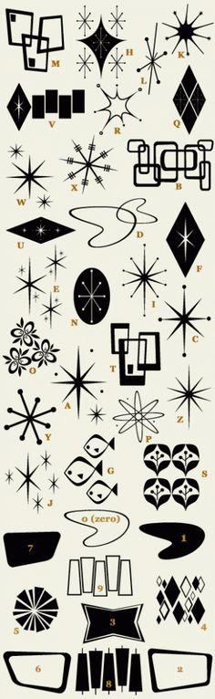 "Retro font: 50s Bomber... maybe now it's called ""retro ricky"" Love the symbols."