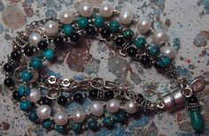 Hand knotted semi precious black onyx, turquoise, creamy white fresh water pearls and Bali sterling silver bracelet Sterling Silver Bracelets, Beaded Bracelets, Creamy White, Black Onyx, My Etsy Shop, Turquoise, Pearls, Jewelry, Jewlery