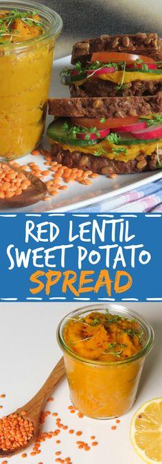 Red lentil & sweet potato spread I used normal potatoes instead… kinda tastes… - My Vegan Recipes Vegan Lentil Recipes, Veggie Recipes, Whole Food Recipes, Vegetarian Recipes, Cooking Recipes, Healthy Recipes, Dinner Recipes, Vegan Lunch Healthy, Vegan Lunches