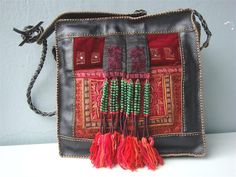 Red Fringed Leather Bag PT51 by BohemianSmile on Etsy, €125.00