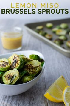 Lemon, miso, tamari, honey, and garlic come together to make these brussels sprouts a flavorful and refreshing side dish. Can be pan-seared or oven-roasted. Vegetarian Recipes Easy, Healthy Dinner Recipes, Whole Food Recipes, Cooking Recipes, Delicious Recipes, Dinner Side Dishes, Healthy Side Dishes, Vegetable Sides, Vegetable Recipes