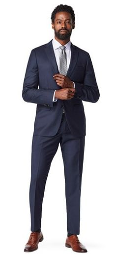 The micro-patterned nailhead weave of the Highbridge appears as a solid from afar, giving this suit quite a bit more depth than you'd expect out of a solid fabric. Serie Suits, Suits Tv Shows, Grey Suit Men, Black Suits, Navy Suits, Women's Suits, Mens Business Professional, Professional Attire, Suit Drawing