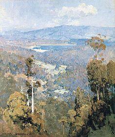 """Silvan Dam"" by Arthur Streeton, Australian Impressionist landscape painter, Impressionist Landscape, Abstract Landscape, Landscape Paintings, Australian Painting, Australian Artists, Aboriginal Art, Artist Art, Les Oeuvres, Amazing Art"