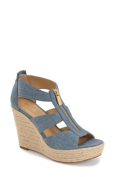 Free shipping and returns on MICHAEL Michael Kors 'Damita' Wedge Sandal (Women) at Nordstrom.com. A logo-etched zipper skims the breezy straps of a woven sandal balanced by an easy wedge.