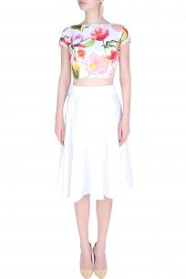 ahc Yellow Holiday Tie Up Crop Top And Circular Skirt<br />