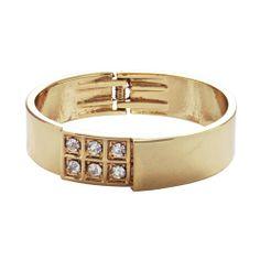Elegant bangle in gold toned plating with 6 crystals. Love Bracelets, Cartier Love Bracelet, Bangle Bracelets, Bangles, Diamond Studs, Plating, Crystals, Elegant, Gold